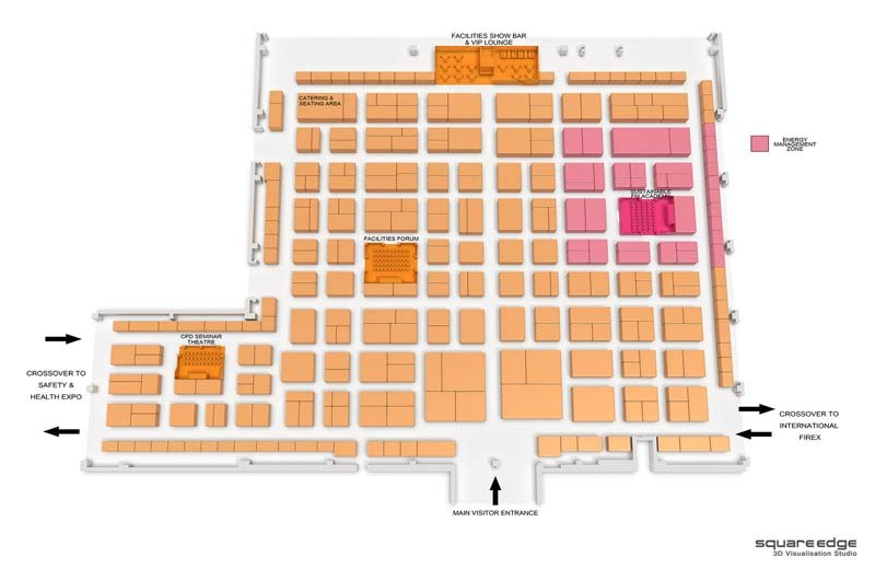 Exhibition square edge 3d architectural visualisation for Trade show floor plan